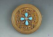 Remarkable Victorian 14k Turquoise Diamond Brooch