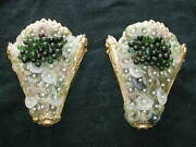 Pr Venetian Italian Gilded Glass Lighted Wall Sconces Antique 1900and039s Rare Gold