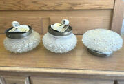 Lot Of 3 Mid Century Crystal Ceiling Light Mount Bronze Lighting Electric Lamp