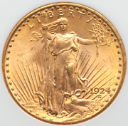 1924 Ms64 Double Eagle 20 Gold St Gaudens Ngc Ms64 Strong Strike W/luster