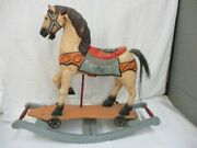 Antique Wood Rocking Horse Hand Painted W/iron Wheels Vintage Wooden Horse
