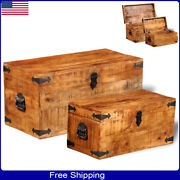 2pcs Wooden Chest Storage Bedroom Large Box Blanket Books Shoes Toys Couch Table