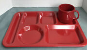 Vtg Red Texas Ware Dinner/snack Tray W/cup.. Some Light Scratches And Scuffs