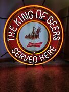 Budweiser Beer Clydesdale Horses Team Neon Light Up Bar Sign King Of Beers New