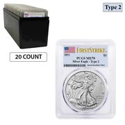 Lot Of 20 - 2021 1 Oz Silver American Eagle Type 2 Pcgs Ms 70 Fs Flag Label