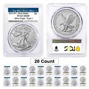 Lot Of 20 - 2021 W 1 Oz Silver American Eagle Type 2 Pcgs Ms 69 Fs West Point
