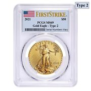 2021 1 Oz Gold American Eagle Type 2 Pcgs Ms 69 First Strike