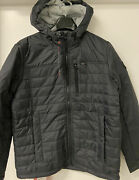 New Mens Large Charcoal Gerry Puffer Insulated Hooded Water Resistant Jacket