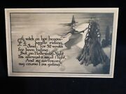 Scarce Vintage Witch Sailing By Moon And Cornstalk Halloween Postcard-gibson-1913
