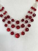 Antique Art Deco 3 Tier Bohemian Crystal Necklace Ruby Red - Needs Restring 16andrdquo