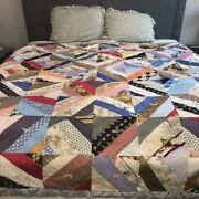 Vintage 1960s Handmade Crazy Quilt King Queen Multicolor Hand Tied Cutter Repair