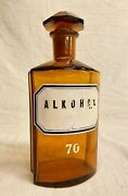 German Alkohol 70 Bottle Antique Apothecary Amber Glass Early 20th C. Pharmacy
