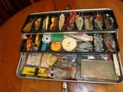 Vintage Metal Galvanized Tackle Box, Full Of Fishing Lures, Vintage Tackle