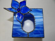 Blue Slag Stained Glass Tissue Box Cover With Blue Flower On Top