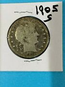 1905 S Circulated Barber Half Dollar 90 Silver And Over 100 Years Old Sc05