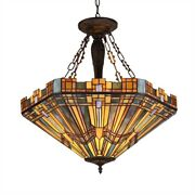 -style Mission 3 Light Inverted Ceiling Pendant Fixture 24 Shade Antique
