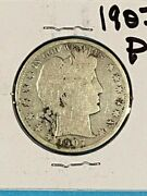 1907 P Circulated Barber Half Dollar 90 Silver And Over 100 Years Old Sc07