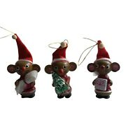 Vintage Merry Mouse Trio Christmas Tree Ornament Handcrafted Holiday Decor