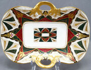 Hand Painted Boseck And Co Pattern Green Red Gold Bread Dish 1882 - 1934