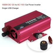 Car Power Inverter 1500w Dc 12v To Ac 110v Converter Usb Charger Adapter 3.1a