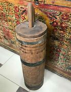 Antique Old Primitive Handmade Wooden Cover Butter Churn-handcraft-90 Year-63 Cm