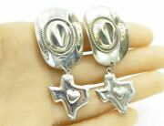 Mexico 925 Sterling Silver - Southern Pride Texas Love Heart Earrings - E1016