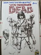 The Walking Dead 2012 Sdcc Original Head Drawing On Print Signed