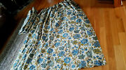 Rare Pr. 82x42 Cotton Barkcloth Fabric Drapes Blue Onion Lined Weighted Pleated