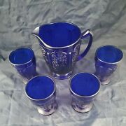 Jeannette Cobalt Blue Depression Cherry Blossom Pitcher,4 Footed Cups Free Ship