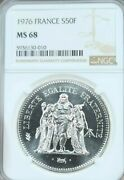 1976 France Silver 50 Francs Hercules Ngc Ms 68 Absolutely Stunning Rare Top Pop