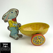 J. Chein Vintage Tin Toy Easter Rabbit With Cart Wheelbarrow Made In Usa Antique