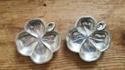 Pair Of Lenox 4 Leaf Clover Sterling Silver Nut Dishes 🍀🍀 Luck Of The Irish