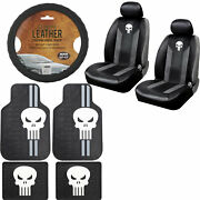 New White Skull Punisher Car Truck Floor Mats Seat Covers And Steering Wheel Cover