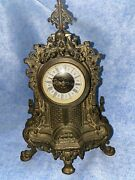 Antique Brass Table West Germany Mantle Clock Working Free Shipping
