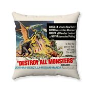 1968 Godzilla Destroy All Monsters Movie Poster Throw Pillow Cover