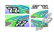 Racing Kart Qrc Outlaw Dirt Wrap Numbers - Blue / Green / Checkered Flag