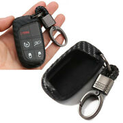For Dodge Journey Charger Jeep Carbon Fiber Car Key Fob Case Cover Shell Remote
