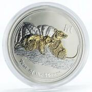 Australia 1 Dollar Lunar Series Ii Year Of The Mouse Gilded Silver Coin 2008