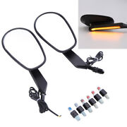 Black Motorcycle Side Mirrors With Led Turn Signals For Harley Davidson Touring