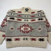 Vintage Woolrich Indian Blanket Aztec 100 Wool Sweater Womens Large Hand Framed