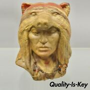 Vtg Native American Indian Chief Bear Head Bust Statue Swirl Layered Clay Resin