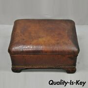 Antique English Brown Distressed Leather Art Deco Club Chair Ottoman Footstool