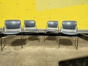 Mid-century Modern Thonet Attiva Chrome Gray Stackable Chairs