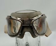 Wwii Era An-gg-f-626 Flying Aviator Goggles By American Optical Company With Box