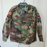 Womens Polo Patches M-65 Military Camo Jacket Sz Xs Field Combat