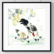 Chickens Life Square Chinese Ink Art Print Wall Decor Poster Usa 170
