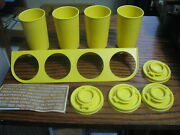 Vintage Yellow Tupperware Spice Rack W/ 4 Containers Never Used   Lot Dn M1t
