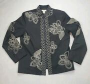 Tweeds Women Black Embroidered Open Silk Kimono Style Jacket Lined Size Large L