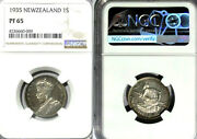 New Zealand 1935 Shilling Extremely Rare Gem Proof Ngc Pf 65 Mintage 364 Coins