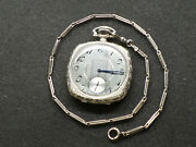 Antique Pocket Watch And Chain, Solid 14kt White Gold Elgin, Hand Engraved Case